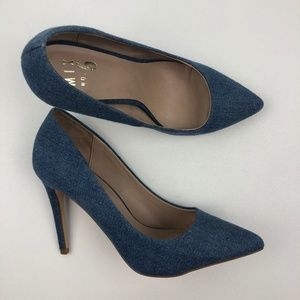 Mix 6 Lill Women Pointed Toe Denim Heels